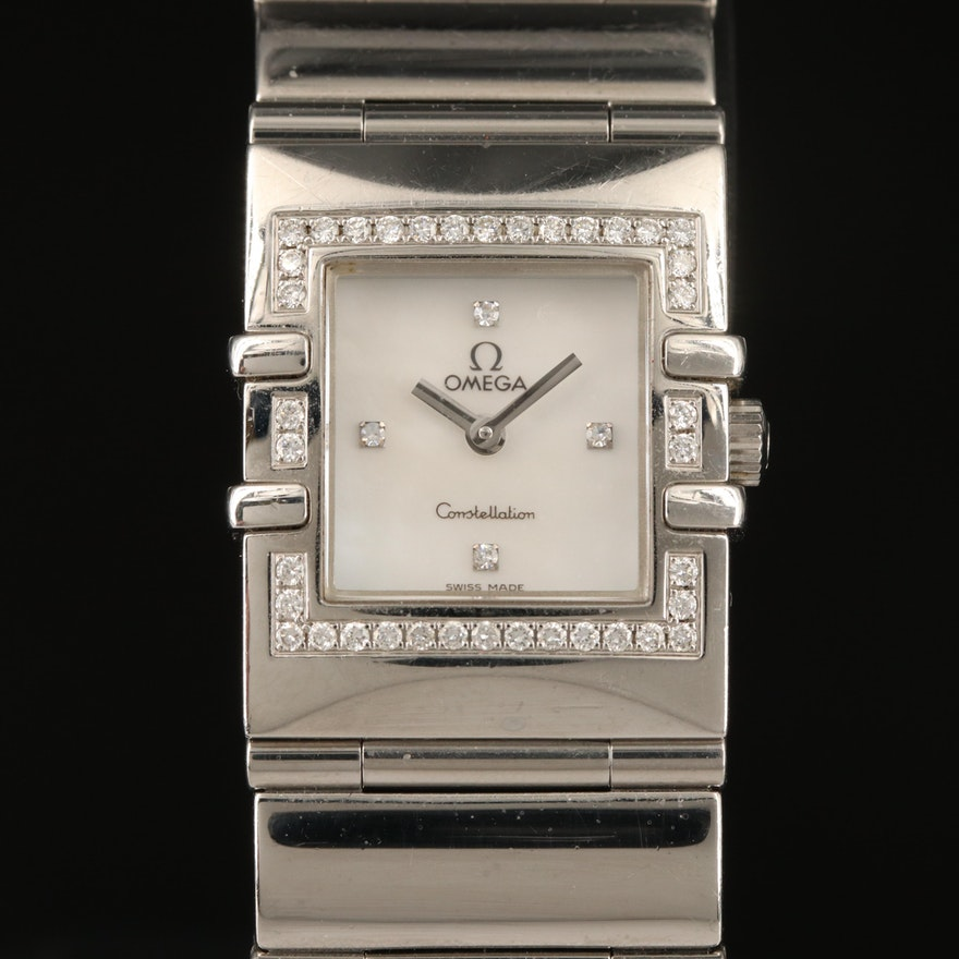 Omega MOP Diamond Dial Constellation Stainless Steel Wristwatch
