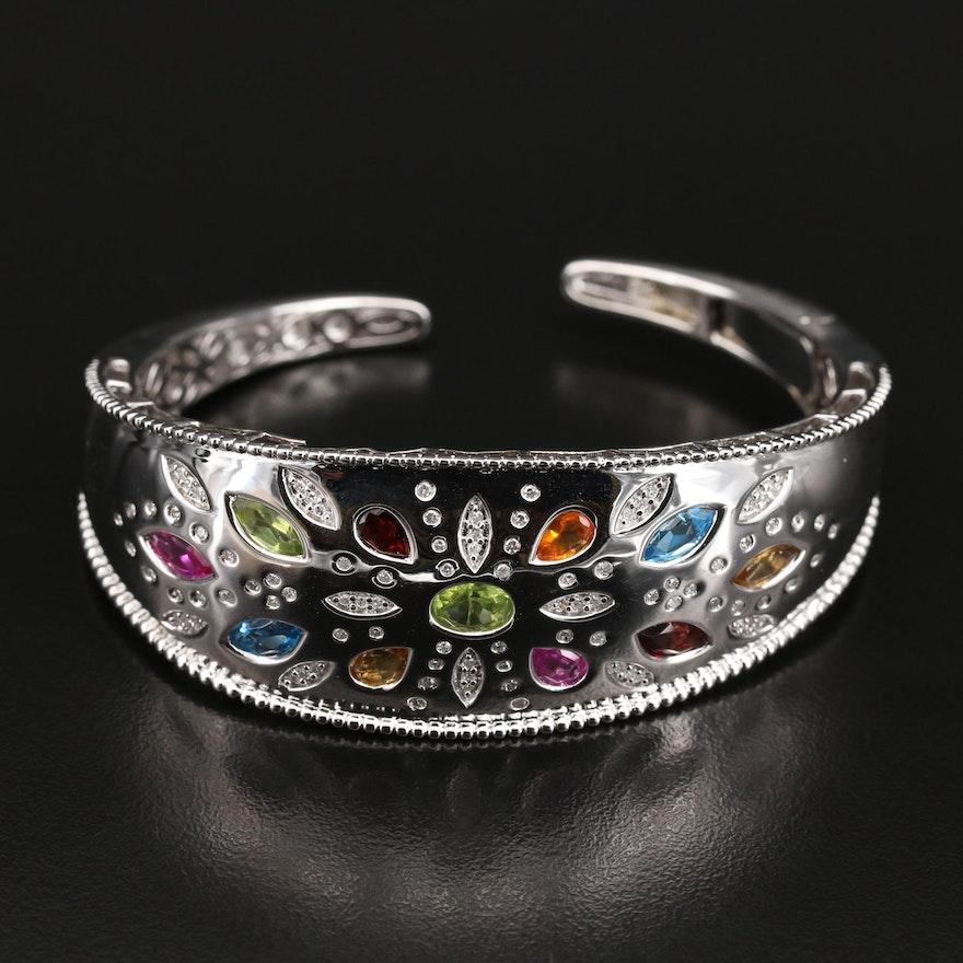 Sterling Flush Set Peridot, Diamond and Gemstone Cuff