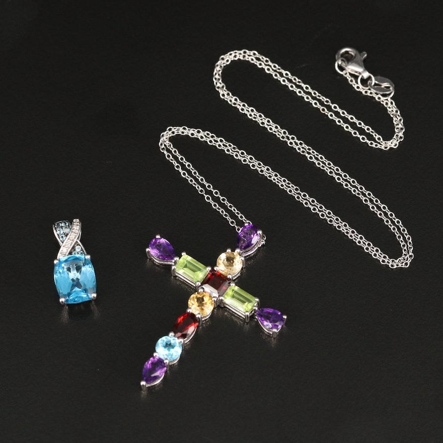 Sterling Topaz and Diamond Enhancer Pendant with Mixed Gemstone Cross Pendant