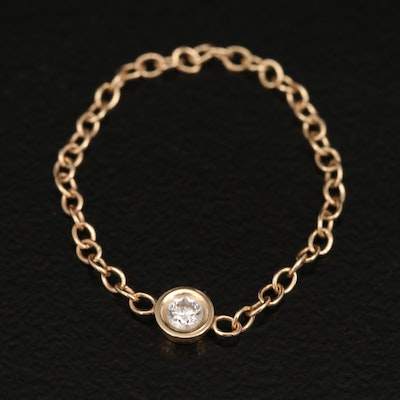 14K Cable Chain 0.04 CT Diamond Solitaire Ring