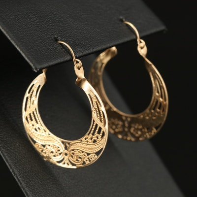14K Openwork Hoop Earrings