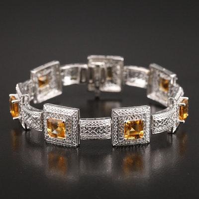 Sterling Citrine and Diamond Openwork Bracelet