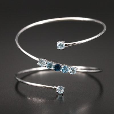 Contemporary Sterling Swiss, Sky and London Blue Topaz Spiral Bracelet