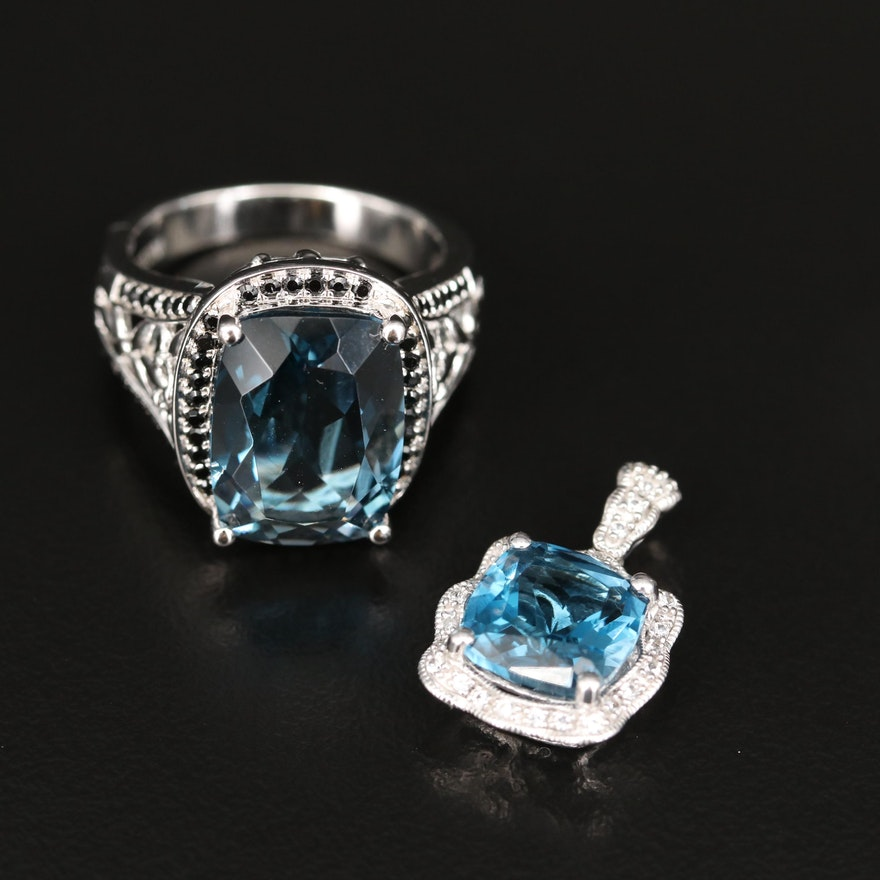 Sterling Openwork Ring and Pendant with London Blue Topaz