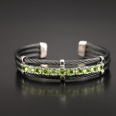 Stainless Steel Peridot Cable Cuff with Sterling Accents