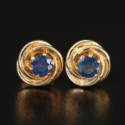 14K Sapphire Love Knot Earrings