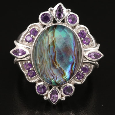 Sterling Silver, Abalone Quartz Doublet and Amethyst Ring