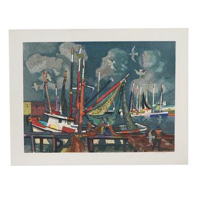 Millard Sheets Serigraph of Harbor Scene with Fishermen