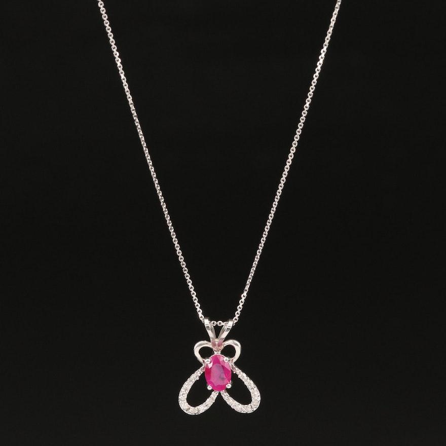 14K Ruby and Diamond Slide Pendant Necklace