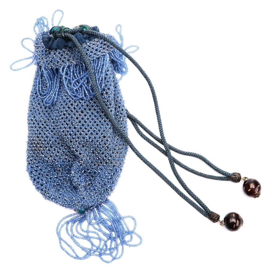 Blue Hand-Beaded Drawstring Reticule