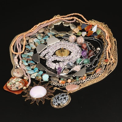 Vintage Gemstone Necklaces, Bracelets and Earrings Including Coral