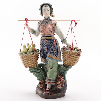 Chinese Shiwan Ware Lady Carrying a Basket with Ducklings and Chicks Figurine,
