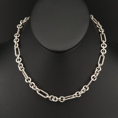 David Yurman Sterling Figaro Style Necklace with 18K Accent