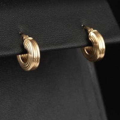 Italian 14K Fluted Huggie Hoop Earrings