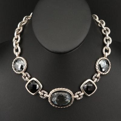 David Yurman Sterling, Diamond and Quartz Hematite Doublet Necklace