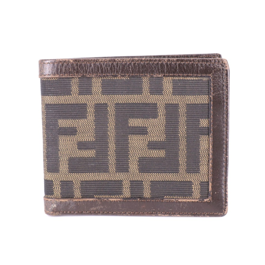 Fendi Bifold Wallet in Zucca Canvas with Brown Leather Trim
