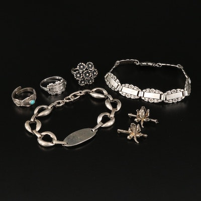 """Sterling Jewelry Featuring 1940s """"Forget-Me-Not"""" Link Bracelet"""