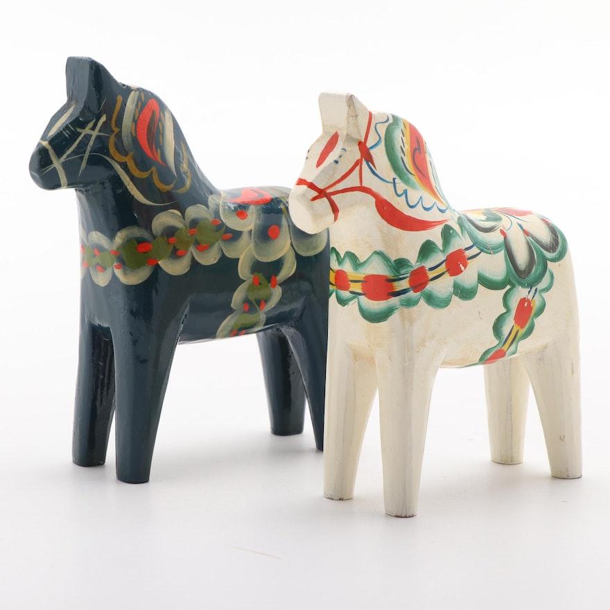"Hand-Painted Swedish Folk Art ""Dala"" Horses by Nils Ollson"