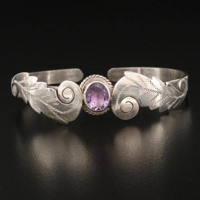 Sterling Amethyst Cuff with Plumes