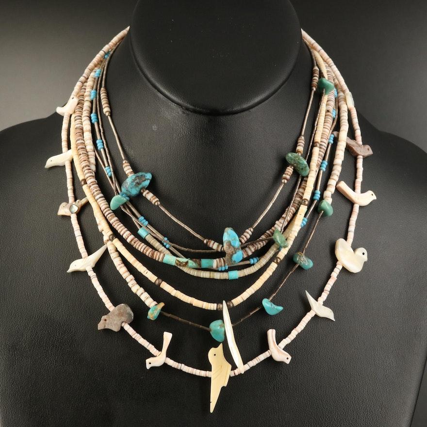 Southwestern Fetish and Bead Necklaces with Heshi Beads