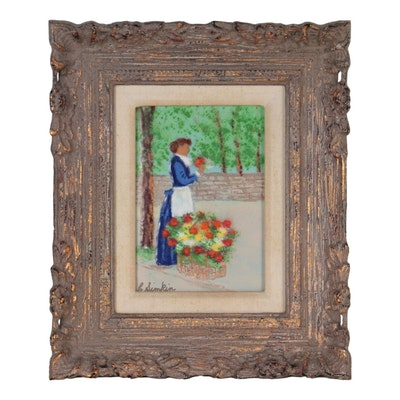 Carol Simkin Enamel Painting of Woman Holding Flowers, Late 20th Century