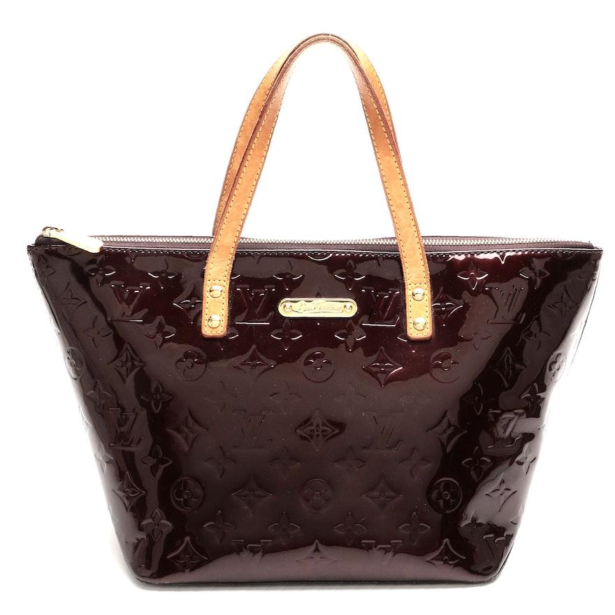Louis Vuitton Bellevue PM Handbag in Amarante Monogram Vernis Leather