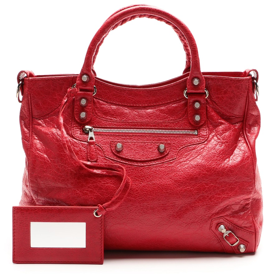 Balenciaga Giant 12 Velo Two-Way Top Handle Bag in Rouge Cardinal Leather