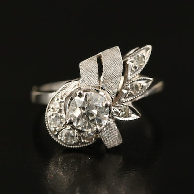 14K Diamond Ring with Textured Accents
