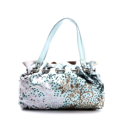 Serpui Marie Floral Beaded Hobo Bag in Baby Blue Satin and Leather