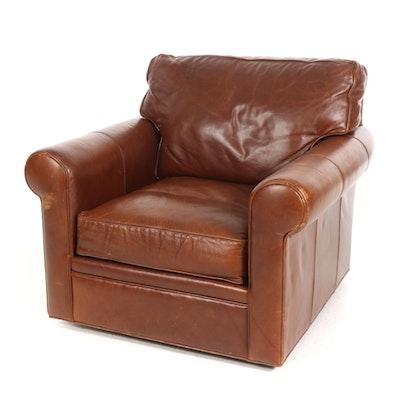 Crate & Barrel Leather Swivel Armchair