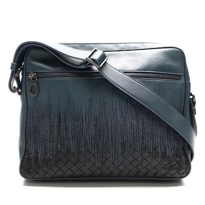 Bottega Veneta Leather Messenger Bag with Embroidery and Intrecciato Detail