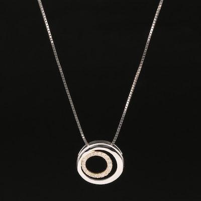 14K Pavé Diamond Concentric Pendant Necklace