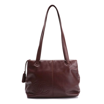 Chanel CC Stitched Shoulder Bag in Brown Lambskin Leather