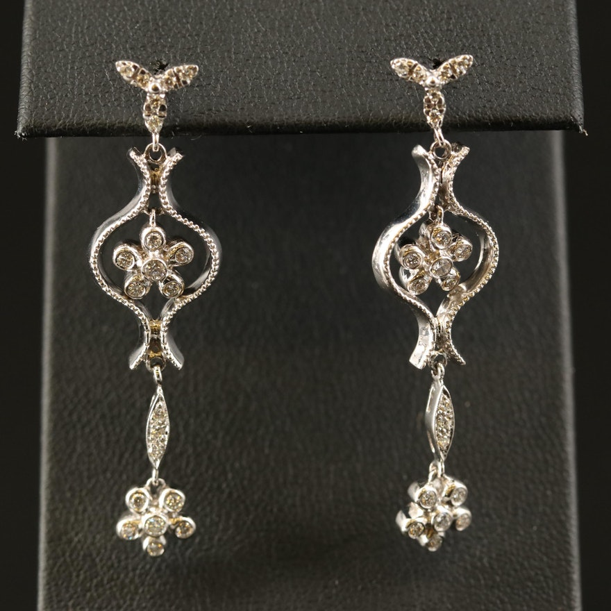 18K Diamond Drop Earrings