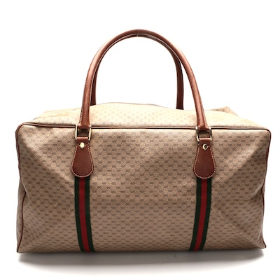 Gucci Web Weekend Bag in Interlocking Micro GG Coated Canvas and Smooth Leather
