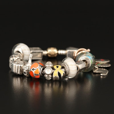 Pandora Charm Bracelet Featuring Lampwork Glass, Moonstone and 14K Accents