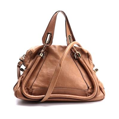 Chloé Medium Paraty Two-Way Bag in Tan Calfskin Leather