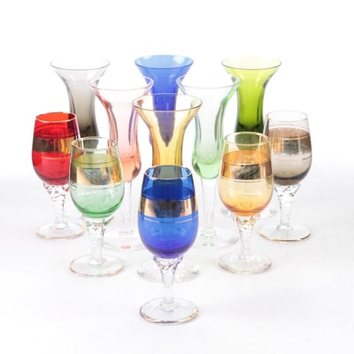 Colored Glass Sherry Glasses and Other Gilt Liqueur Glasses, Mid to Late 20th C.