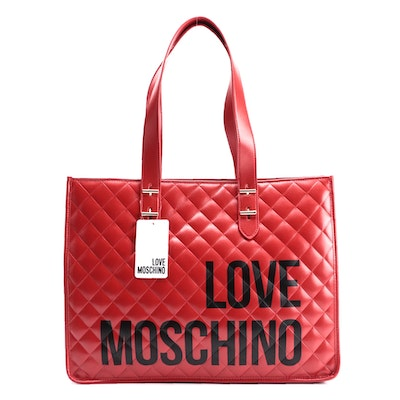 Love Moschino Red Quilted Shopper Tote