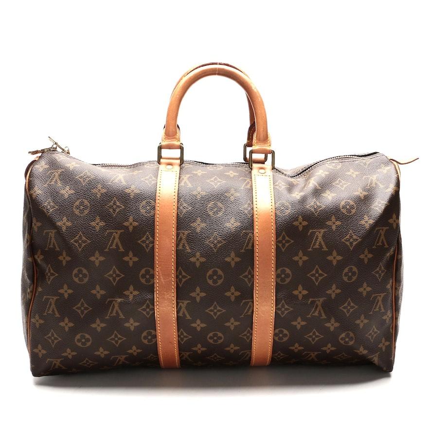 Louis Vuitton Monogram Keepall 45 in Monogram Canvas and Vachetta Leather