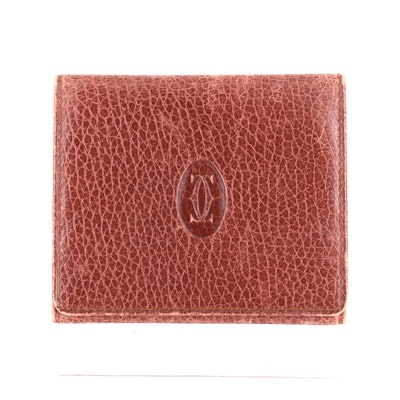 Cartier Burgundy Grained Leather Card Case