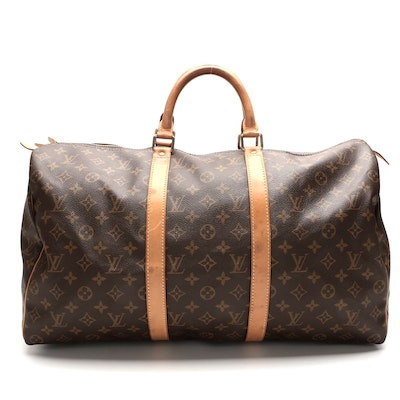 Louis Vuitton Keepall 50 in Monogram Canvas with Leather Trim