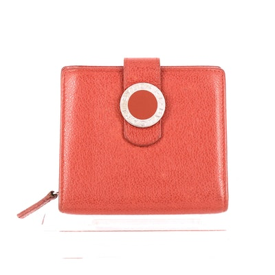 BVLGARI Red Grained Leather Wallet
