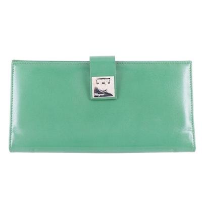 Salvatore Ferragamo Green Leather Gancini Lock Wallet
