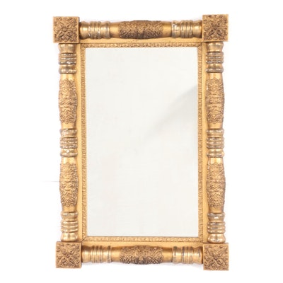 American Classical Giltwood and Composition Split-Baluster Mirror, circa 1830