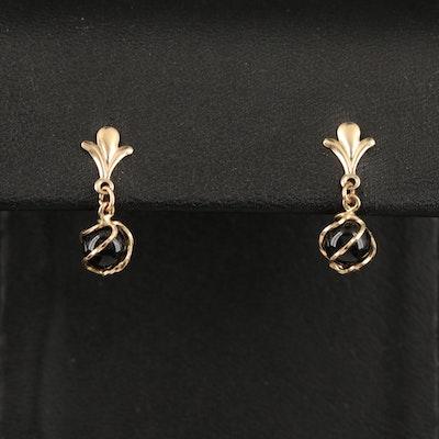 14K Black Onyx Wire Wrapped Earrings
