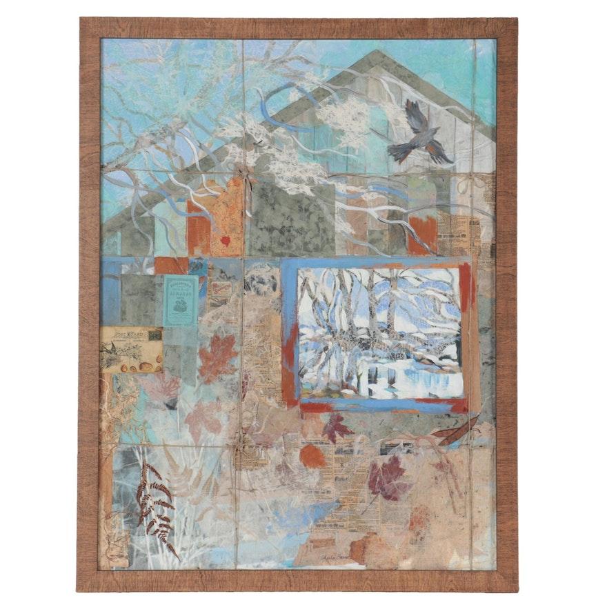 "Sheila Bonser Abstract Mixed Media Composition ""Winter Flight,"" 2016"