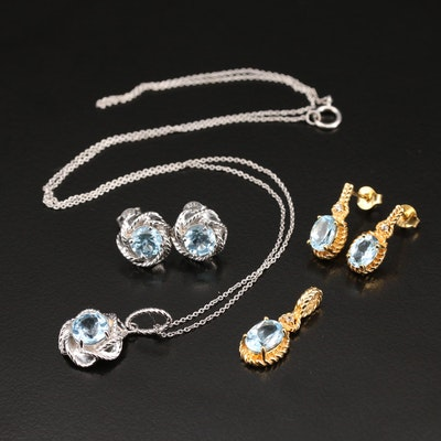 Sterling Topaz Earrings, Pendant and Necklace
