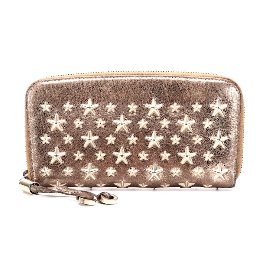 Jimmy Choo Star Studded Metallic Leather Zip Wallet