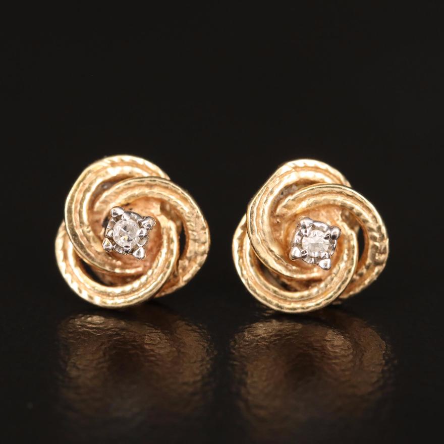 14K Diamond Swirl Style Stud Earrings